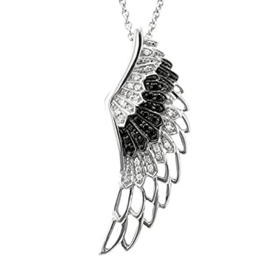 c1385ec4b Image Unavailable. Image not available for. Color: BLACK and WHITE Diamond  Angel Wing Sterling Silver Necklace (1/4 Carat) -