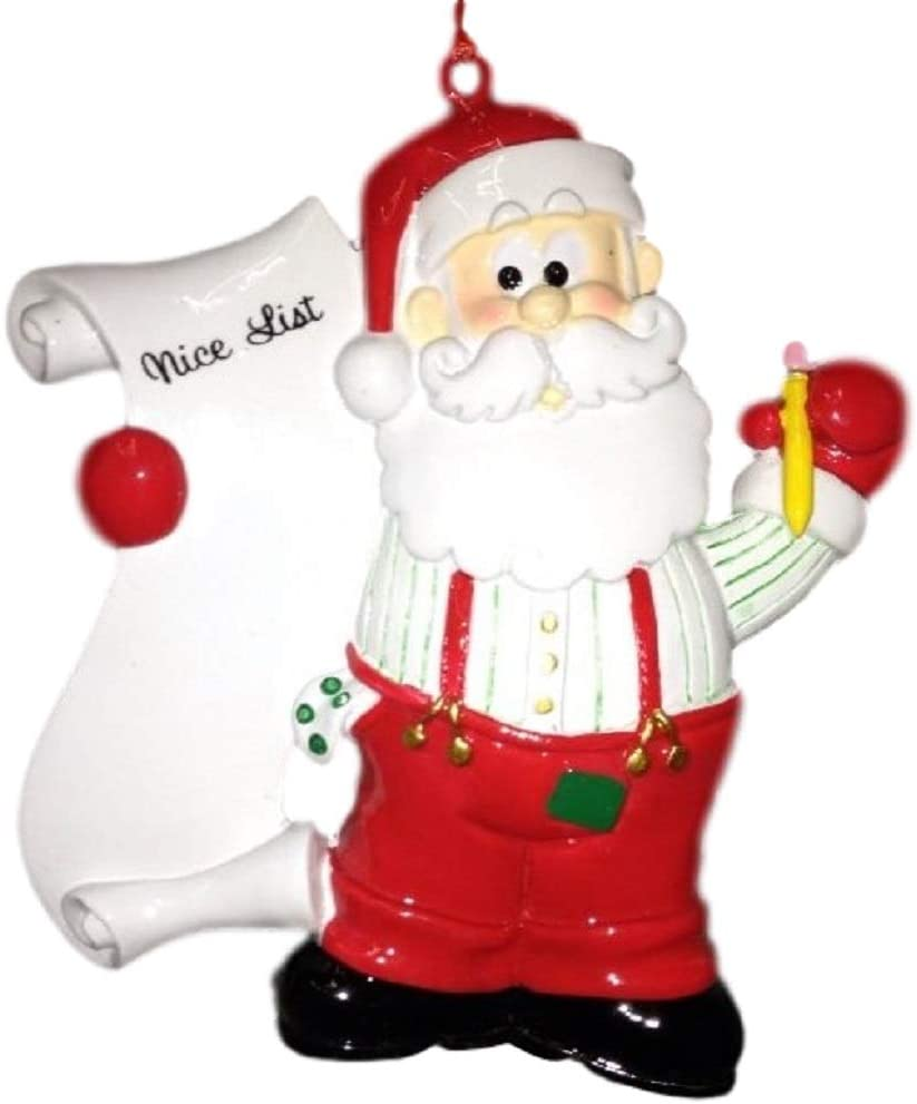 Santa Claus Christmas Ornament Handmade in The USA Ready to Paint Ceramic Bisque Checking His List