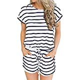 ANRABESS Women's Summer Short Sleeve Striped Jumpsuit Rompers with Pockets Short Pant Rompers Playsuit White+Navy-M BYF-35