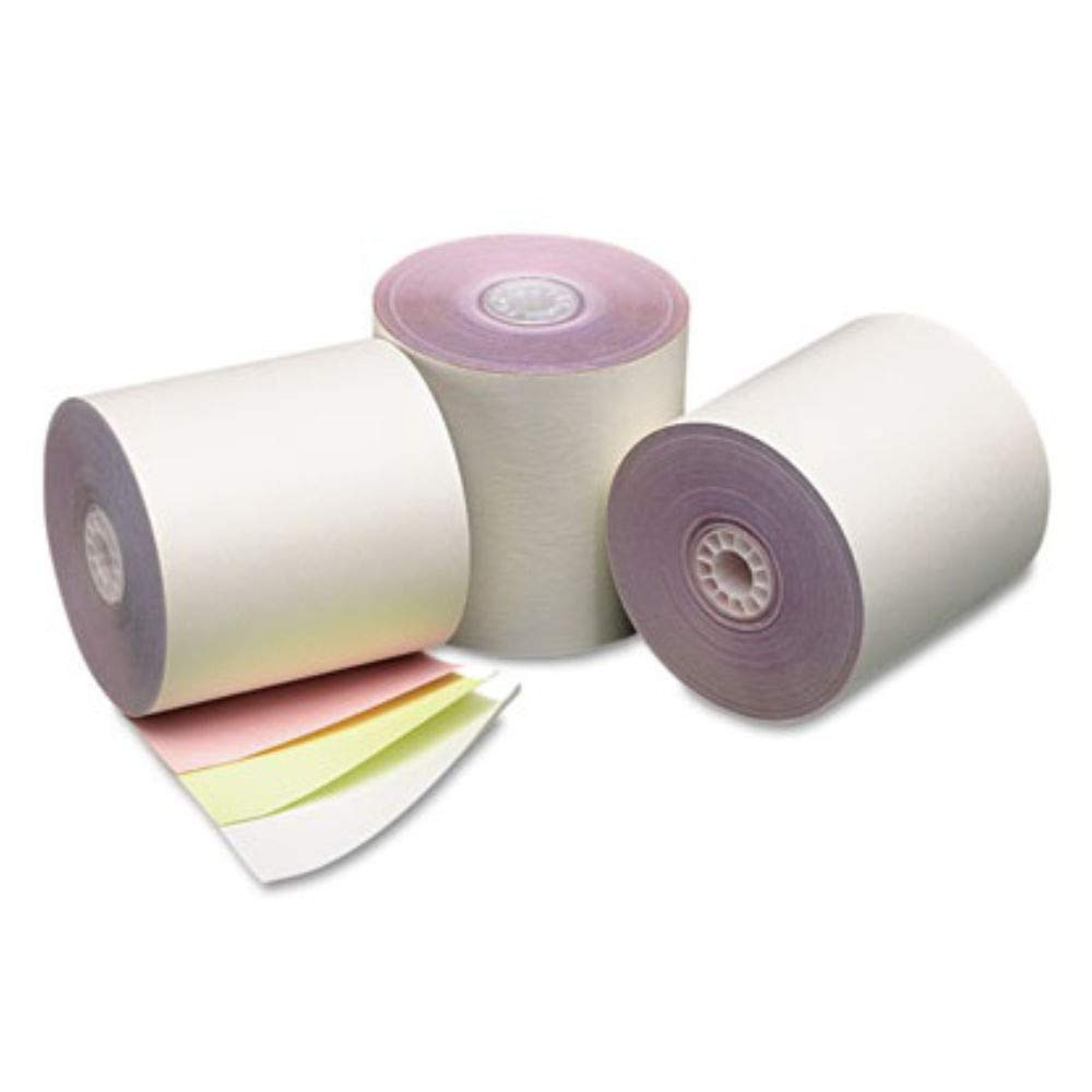 TEK POS - 3'' x 67' - Three-Ply - White/Canary/Pink Carbonless Receipt Roll Paper - 50 Rolls - USA Made by TEK POS PAPER