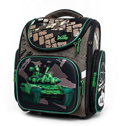 Delune Kids Backpack for Boys and Girls Primary Schoolbag - Individual/Waterproof/Orthopedic/Noble (brown-green)