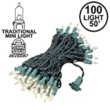 Novelty Lights 100 Light Clear Christmas Mini String Light Set, Green Wire, Indoor/Outdoor UL Listed, 50' Long