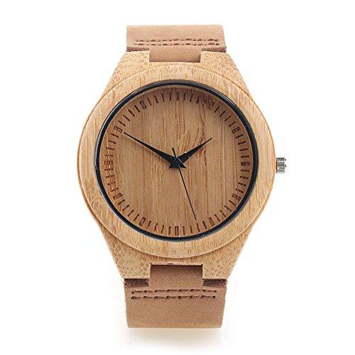 FYHSHOP-Bamboo-de-Montre-en-bois-avec-bracelet-en-cuir-Mouvement--quartz-japonais-marron