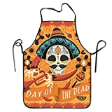 Mexican Sugar Skull Adjustable Apron For Kitchen BBQ Barbecue Cooking Chef Waitress Great Gift For Wife Ladies Men Boyfriend