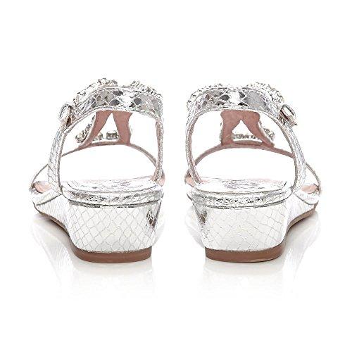Moda In Pelle - Sandalias de vestir para mujer Plata plata