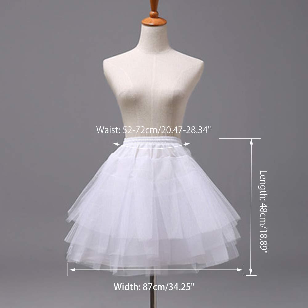 Flower Girl Underskirt White LULUSILK Girl/'s Hoopless Petticoat Crinoline with 3 Layers