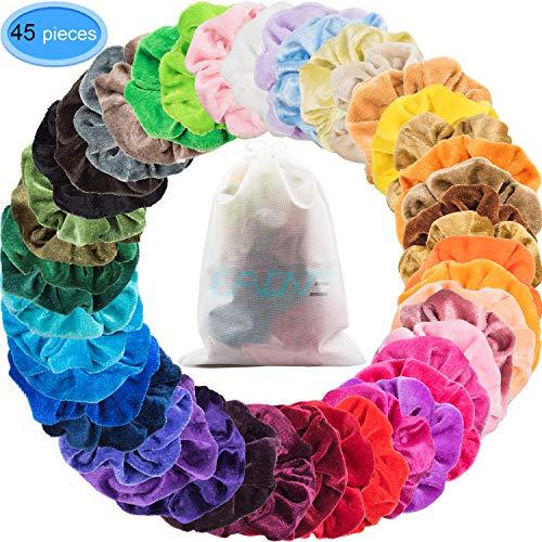 (EAONE 45 Colors Hair Scrunchies Velvet Elastic Hair Ties Scrunchy Hair Bands Ponytail Holder Headbands for Women Girls Hair Accessories, 45 Pieces)