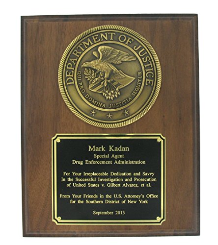 Genuine Walnut Finished Plaque with Department of Justice Emblem, includes Personalization