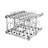 Rev-A-Shelf 5CW2-2122-CR 21 Inch 2 Tier Wire Kitchen Cabinet Organizer for Pots, Pans, and Lid Cookware, Chrome