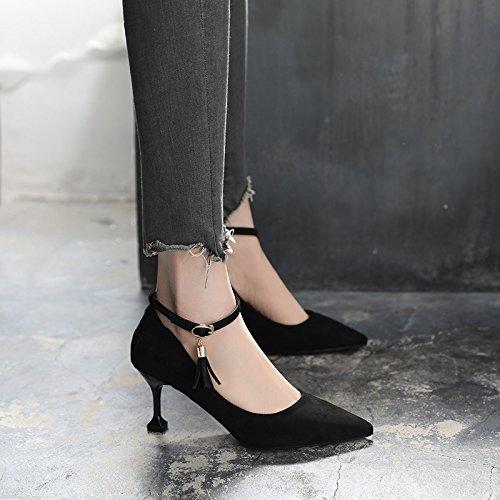 Zapatos Alto La Ranurada Punta Primavera Su De De Negro En Zapatos Tacón Verano Hembra Los Con GAOLIM Corbata Única Fina 1IwACqTx