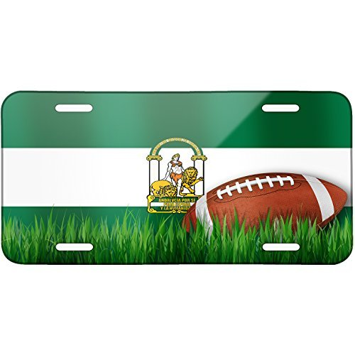 Football with Flag Andalusia region Spain Metal License Plate 6X12 Inch by Saniwa