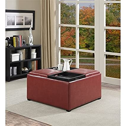 Merveilleux Atlin Designs Faux Leather Coffee Table Storage Ottoman In Red