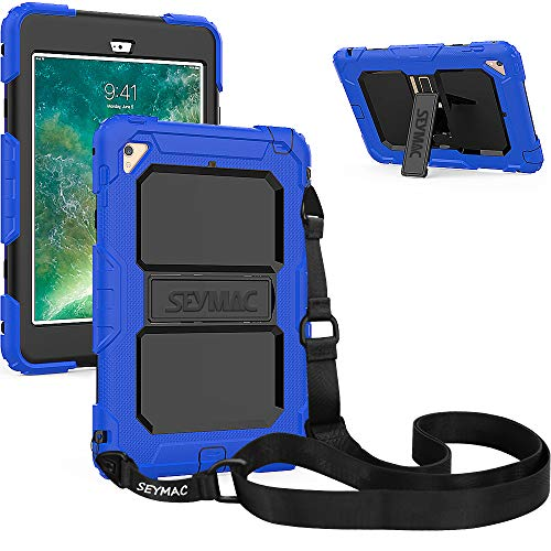 SEYMAC iPad Mini 4 Case, Three Layer Heavy Duty Drop Proof Full-Body Protective Rugged Hard Case with Kickstand & Removable Shoulder Strap Compatible with iPad Mini 4th Gen [a1538,a1550] (Blue/Black)
