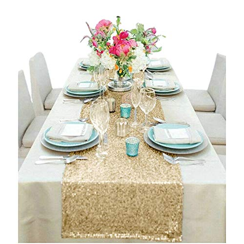 - SALE - Sequin-Table Runner-14x108Inch Sequin TableCloth Sequin Table Cloths Valentines Day Table Sequin Linens Christmas Runner Party (Light Gold)