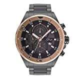 Daniel Steiger Techstar Rose Gold Chronograph Men's Watch - 100M Water Resistant - Stainless Steel Case With Gun Metal Finish - Rose Gold Bezel - Magnificent Presentation Case