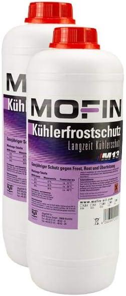 Mofin 2x Kühlflüssigkeit M13 1 5l Kühlerfrostschutz 0130 Coolant Konzentrat Violett Rot Antifreeze Kühlmittel Kühlerschutz Auto