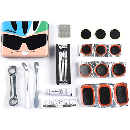 WEANAS Bike Repair Kit Mini Cycling Repair Tool, Multifunctional Tire Repair Tools Kits Set with Fashion Cartoon Box