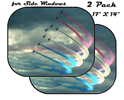 MSD Car Sun Shade for Side Window - UV Protector for Baby and Pet - Block Sunlight - Image of Blue air Sky Smoke Flying Jet Wing Aviation Airplane Fly red Flight Show Formation Plane