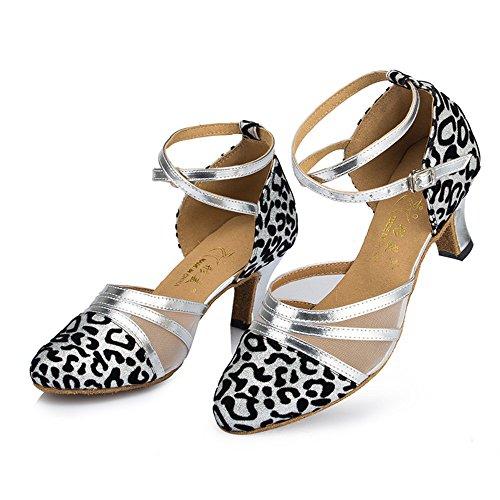 Las Mujeres Latinas De Gamuza Cómodos Zapatos De Baile Zapatos De Baile Rumba Cha Plata 5cm