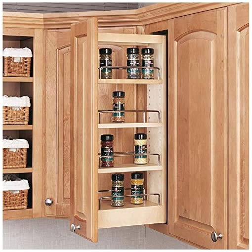 Kitchen Rev-A-Shelf 448-WC-5C 5-Inch Base Cabinet Pull Out Storage Organizer with 3 Adjustable Wood Shelves and Chrome Rails… pull-out organizers