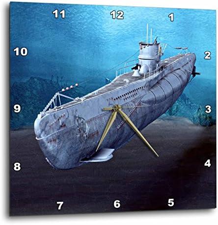 3dRose DPP_62982_1 Military Submarine Wall Clock, 10 by 10-Inch
