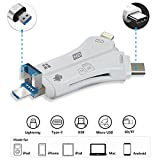 SD Card Camera Viewer Adapter, Baker USB SD Card Reader 4 in 1 Multifunction SD / TF Card Reader with Lightning 8-Pin / USB / Micro-USB / Type-C Connector Compatible iPhone iPad...