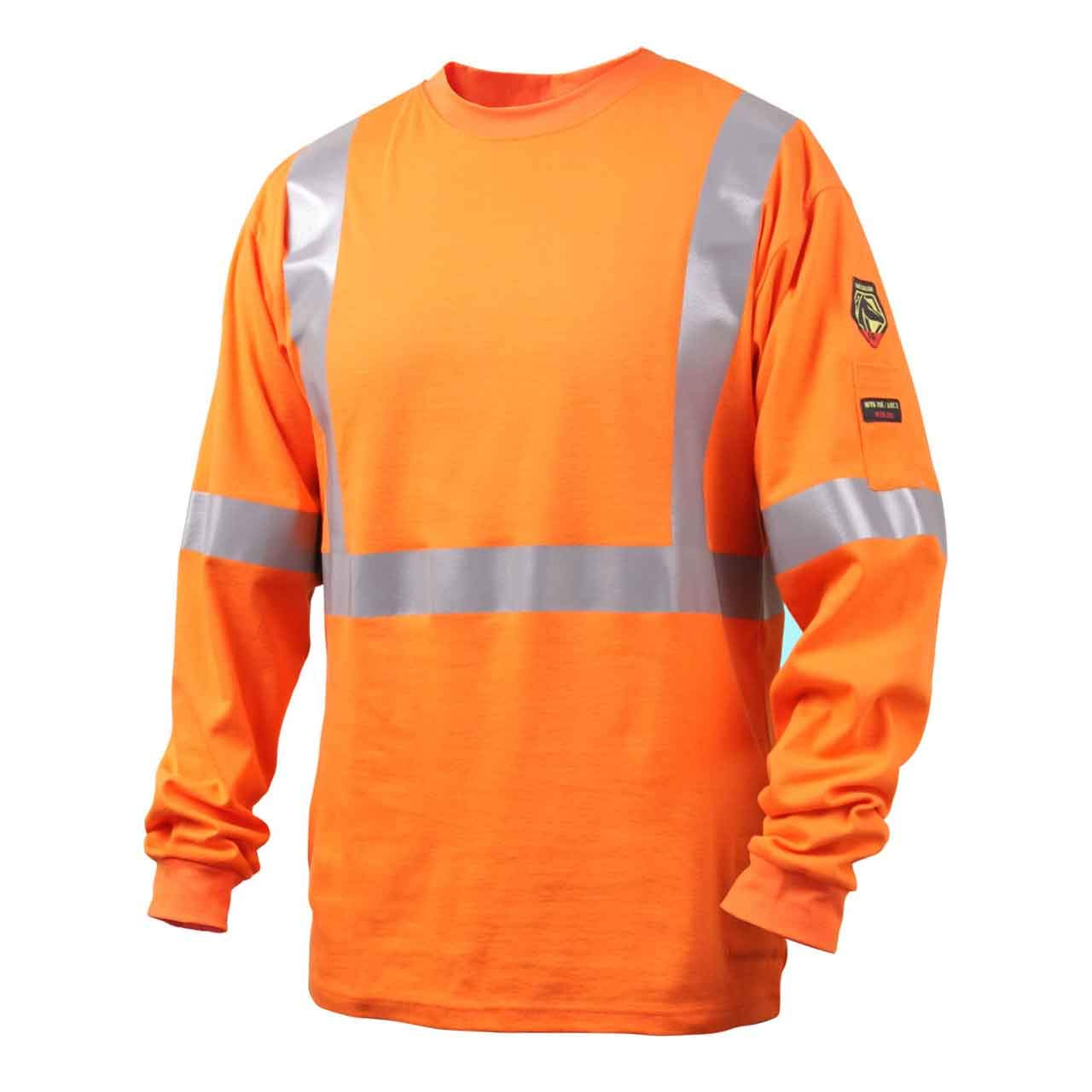 Black Stallion TF2511 NFPA 2112 & NFPA 70E FR Cotton Long Sleeve T-Shirt with Reflective Tape, Orange, Large