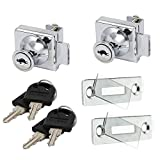 Rannb 2 Pack Glass Display Cabinet Showcase Lock with 4 Keys No Drilling Required for 5-8mm Glass Door