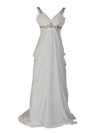 Remedios Sleeveless V Neck Chiffon Empire Wedding Dress With Rhinestone Ivory S4