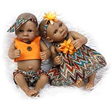 "Terabithia Mini 11"" Black Couple Alive Reborn Baby Dolls Silicone Full Body African American Twins"