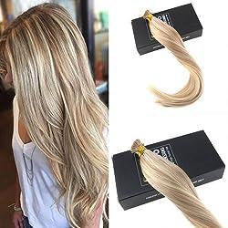 Sunny 20inch Remy Brazilian Hair Extensions Fusion I Tip Human Hair 1g/Strand Dark Ash Blonde Highlight Bleach Blonde Keratin Stick Tip Human Hair Extensions 50G