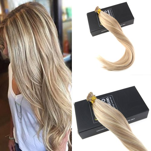 Stick/i Tip (Sunny 16inch I Tip Fusion Hair Extensions Dark Ash Blonde Highlight Bleach Blonde Colored Hair Extensions Keratin Tip Human Hair Extensions 50G)