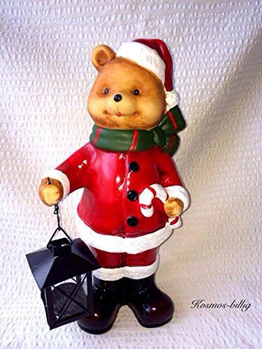 Weihnachtsmann mit laterne Weihnachtsfigur mit kerzenhalter Dekofigur türdeko Teddy mit Laterne Teelichthalter Weihnachtsmann Außendeko Weihnachten Weihnachtsdeko