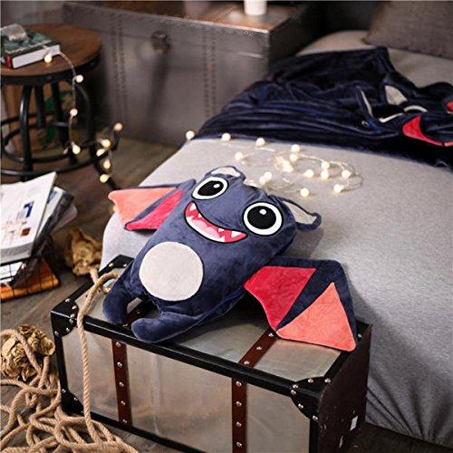Senmiya Bat Blanket Stuffed Animal Cute Throw Blanket Fuzzy Cuddle Pillow Pet Navy Blue Travel Nap Blanket, Packable, Plush, Portable Back Buddy Pillow for Kids by Senmiya (Image #4)