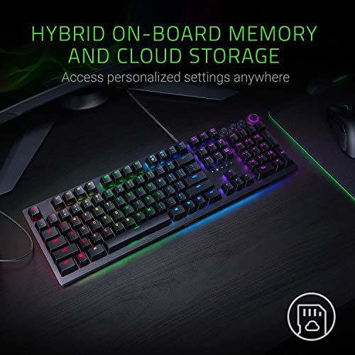 Razer Huntsman Elite Gaming Keyboard: Fastest Keyboard Switches Ever – Clicky Optical Switches – Chroma RGB Lighting – Magnetic Plush Wrist Rest – Dedicated Media Keys & Dial – Classic Black 51G4MF V8fL
