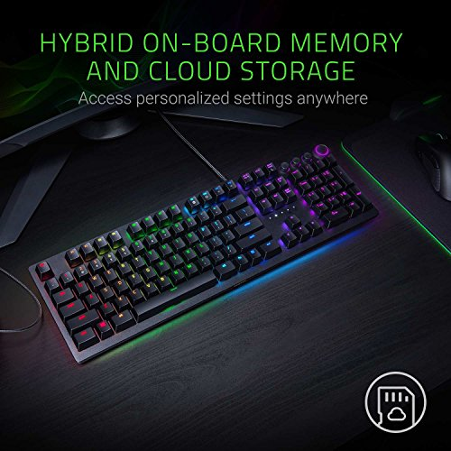 51G4MF V8fL - Razer Huntsman Elite: Opto-Mechanical Switch - Multi-Functional Digital Dial & Media Keys - Leatherette Wrist Rest - 4-Side Underglow - Gaming Keyboard