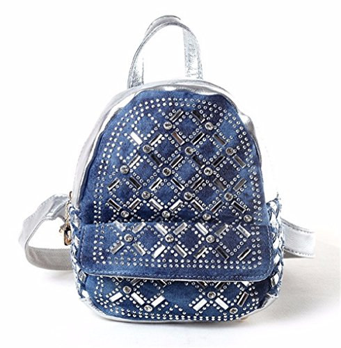 WanJiaMen'Shop Hembra Doble Bolsa de Hombro Bolsa de Tejido Denim Moda Estudiante Bag Mini Mochila, 22x11x25cm, Plata Plata