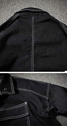 Martinad Martinad Cowboy Manica Versione Jacket Giacche Giubbotto Cappotto Lunga Casuale Uomo Nero Outwear Wind Tasca Long Autunno New Coreana Bavero Breaker Sciolto FtFfr