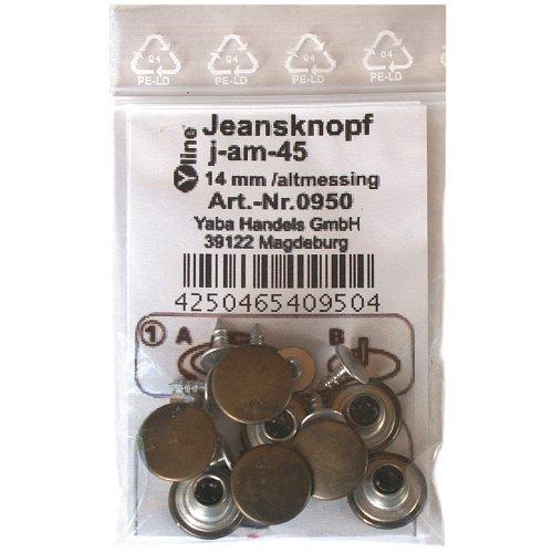8 Jeans Knöpfe altmessing (matt) 14 mm, Jeansknöpfe Metallknöpfe Metall Knopf, j-am-45