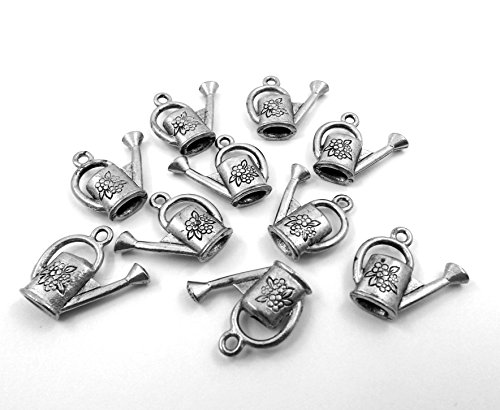 (Gold Chest Jewelers Set of Ten (10) Pewter Watering Can Charms)