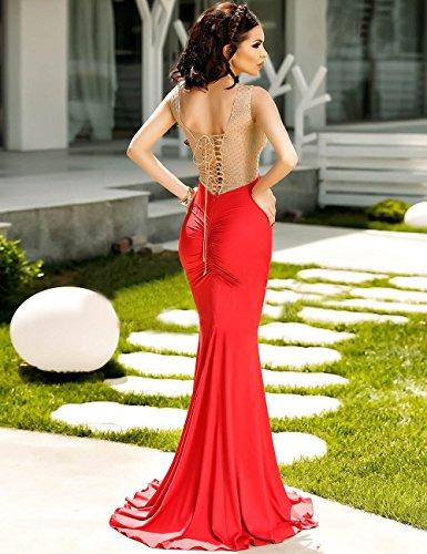 Elegante Damen Lang Rot amp; Gold Sheer Mieder Abend Cocktail Ball ...