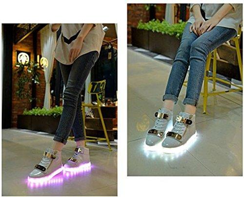 (Present:kleines Handtuch)JUNGLEST® 7 Farben LED Leuchtend Aufladen USB Aufladen Sport Schuhe Paare Schuhe Herbst und Winter Sport Schuhe Freizeitschuhe Leucht Laufende Unis Weiß