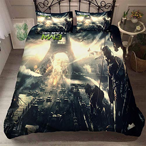 Boys Gaming Call of Duty Bedding Sets Full Duvet Cover 3D Printing Bed Set for Bedroom 1 Duvet Cover with 2 Pillow Shams