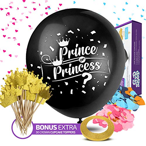 Black Balloons for Gender Reveal with Confetti - 36-Inch Balloons with Pink and Blue Heart Shape Confetti for Boy or Girl Baby Shower Party Supplies Kit - 30 pcs Gold Cupcake Crown Toppers Decorations