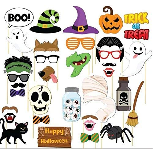 Flower.Princess Halloween Photo Booth Props DIY Kit Funny Photo Booth ,Eye Glasses,Red Lips,Hat,Bat,Pumpkin Bow Ties,Ghosts (8(Pack of 35))