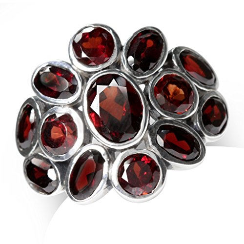 (4.75ct. Natural Garnet 925 Sterling Silver Cluster Cocktail Ring Size 10 )