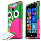 Microsoft Nokia Lumia 435 Case, [Green Owl] Slim Grip Rubberized Matte Finish Hard Polycarbonate Plastic Case Cover...