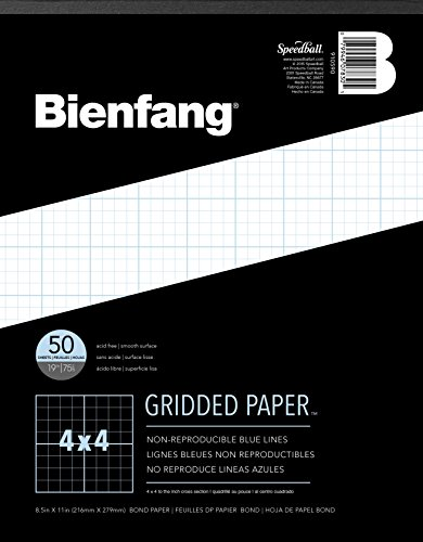 Bienfang Designer Grid Paper, 50 Sheets, 8-1/2-Inch by 11-Inch Pad, 4 by 4 Cross Section