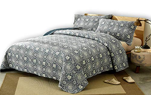 DaDa Bedding Bohemian Bedspread Set - Suzani Medallion Off White Ash Grey Navy Blue Lapis - Floral Star Quilted Coverlet - Cal King - 3-Pieces