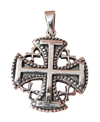 Jerusalem Emblem - 925 Sterling Silver Jerusalem Cross Fivefold Cross Crusaders Cross Emblem Medal Pendant Necklace A12